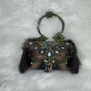 Mary Frances Jeweled Feather Clutch Purse